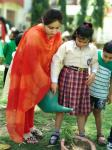 Earth day celebration : Students of Inclusive Wing celebrates Earth Day by dressing up in green coloured attire, visiting the garden to plant little saplings and water them.